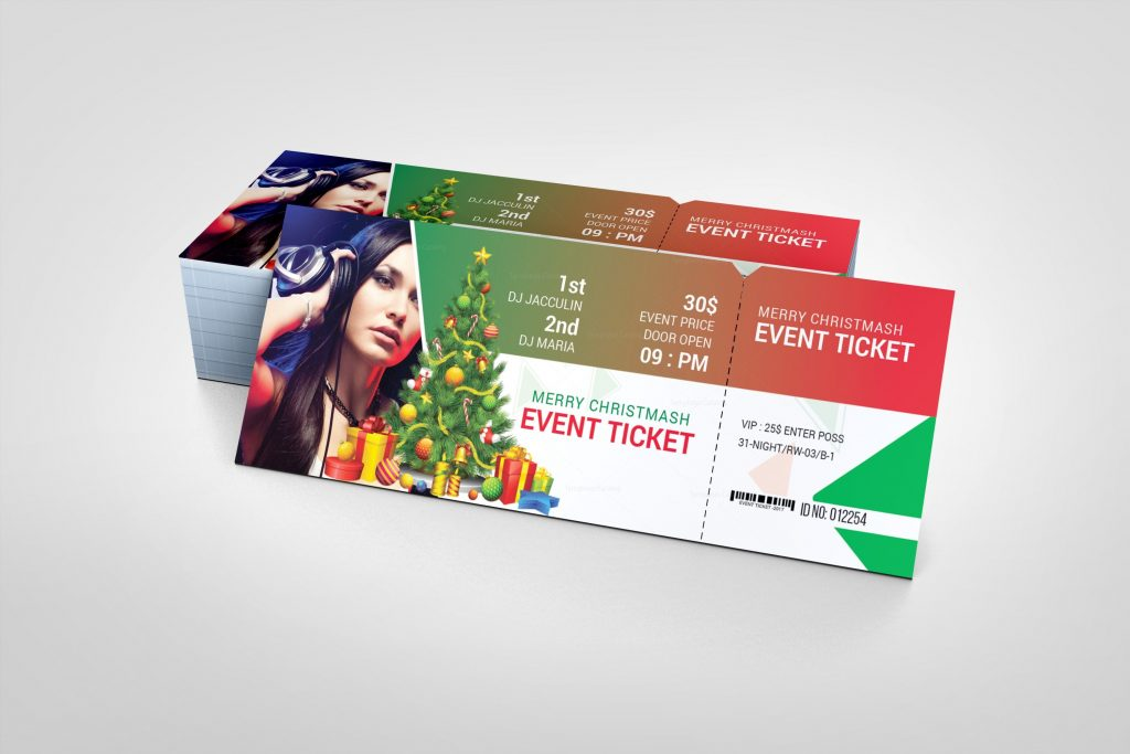 Christmas Event Ticket Design Template - Graphic Templates