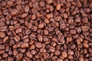 Roasted coffee beans macro photo